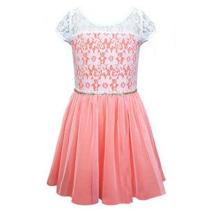 NEW Hannah Banna Coral & Ivory Lace Girls Dress 14